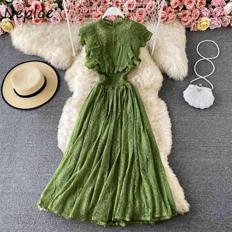 Retalhos elegantes Retalhos Ruffles Mulheres Vestido Longo Mulheres Cintura alta Quadril Uma Linha Vestidos Verão O Pescoço Manga Curta Robe 210521
