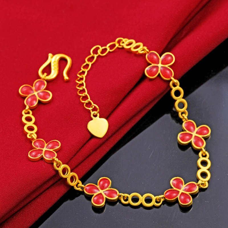 Catena di trifoglio da donna a quattro foglie 24k piastra oro Braccialetti di fascino JSGB178 Moda regalo di nozze donne fiore fiore giallo braccialetto placcato oro