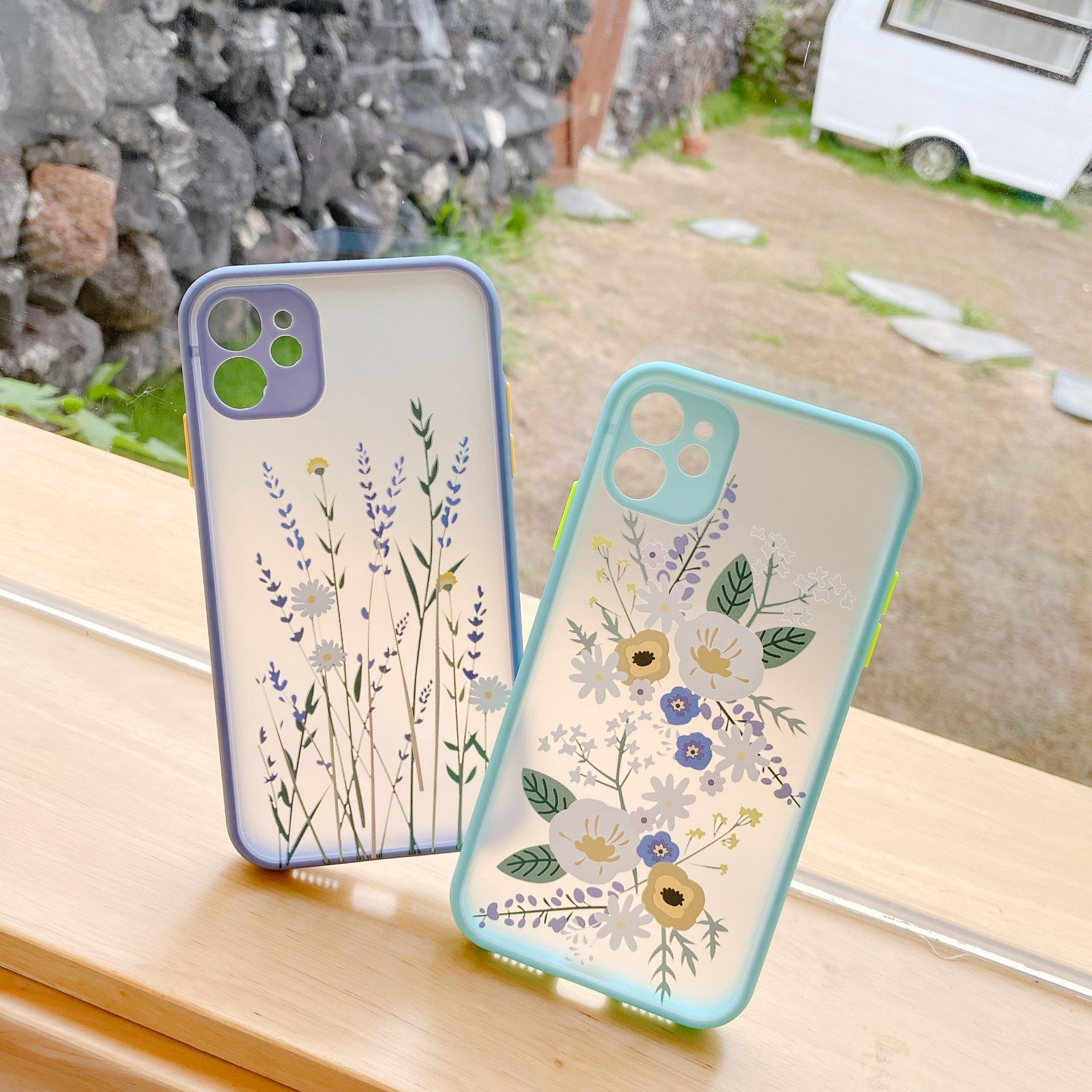 Luxury 3D Flower Cases For iPhone 12 11 promax XR 7 8 PLUS XS Soft Bumper Transparent Matte PC Back Cover Free Ship