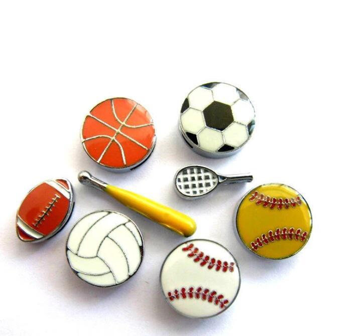 Mais opções 100 pçs / lote esportes bolas 8mm encantos slides softball basquete basquete futebol futebol apto para pet colar pulseiras jóias fazendo