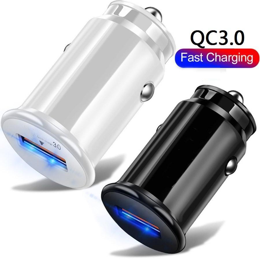 18W 미니 USB QC3.0 5V 3A 9V 2A Fast Quick Charge 자동차 충전기 자동 전원 어댑터 아이폰 7 8 11 12 Pro Max Samsung HTC Tablet PC MP3
