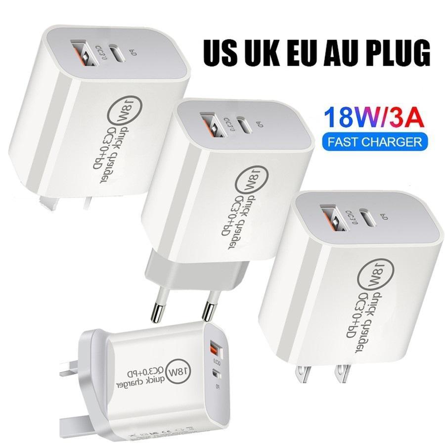 18W Kurzaufladung QC3.0 USB C Dual-Ports EU US UK AU Wall-Ladegerät Netzteil-Stecker für Samsung S10 S20 Note 10 HTC Huawei Android-Telefon