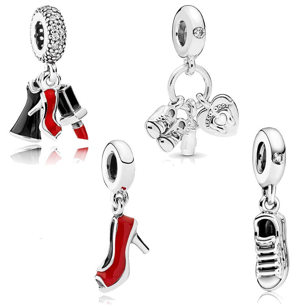 Charm High Heels Sports Shoes Hanger Crown Jewelry Diy Bangle Chain Accessories Fit Original Pandora Women's Bracelet