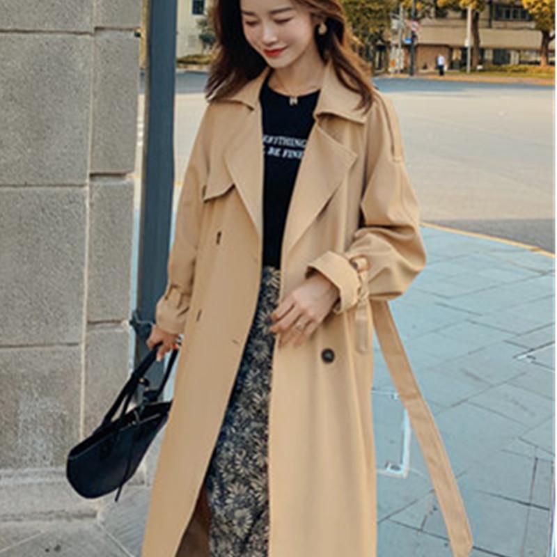 Windbreaker Coat Womens Clothing 2021 Spring Autumn Korean Fashion Mid-Length Loose Elegant Woman Windbreakers Coats A418 Women's Trench