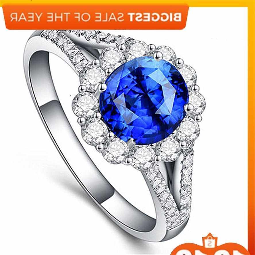 Pettal Full Opening Micro Set Zircon Quatre anneau de diamant cristal bleu griffe
