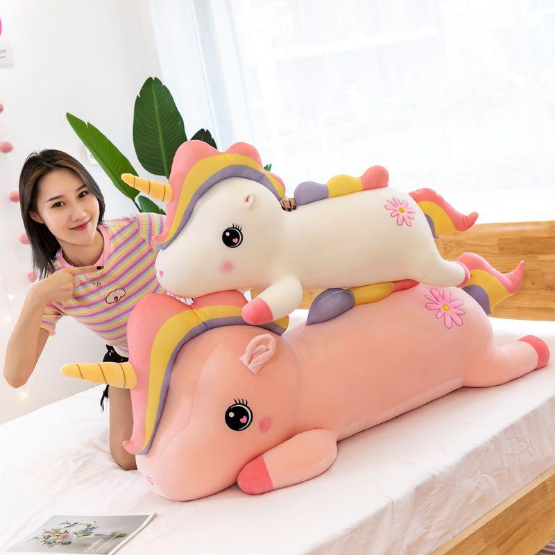 Neue 4090 cm Squishy Einhorn Spielzeug Rosa Weiß Kurze Plüsch Daunen Baumwolle Gefüllte Regenbogen Lügen Einhorn Für Baby Kinder