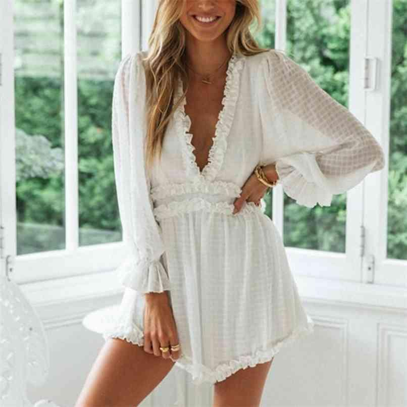 deep v neck long sleeve rompers overalls women white ruffle wide leg sexy backless playsuits autumn sheer 210528