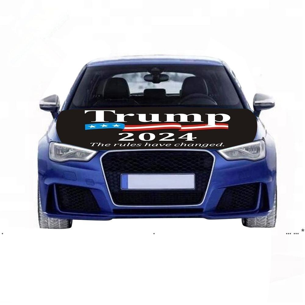 NewHot Trump Election 2024 Cappuccio Bandiera Elezione Auto Cover Enginee Bandiere Lavabile e asciugatrice Cassaforte Easy Installazione e rimozione Campagna Banner EWF58