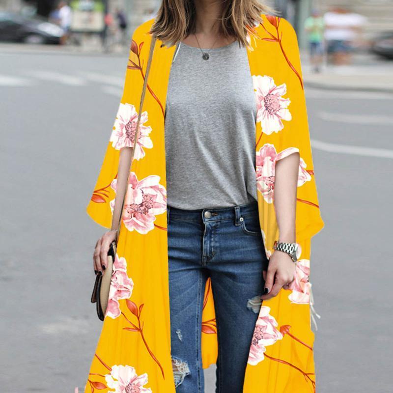 Sommer Damen Vintage Floral Chiffon Hemd Kleine frische einfache lange Sonnencreme lose Schal Kimono Strickjacke Top Frauen Badebekleidung