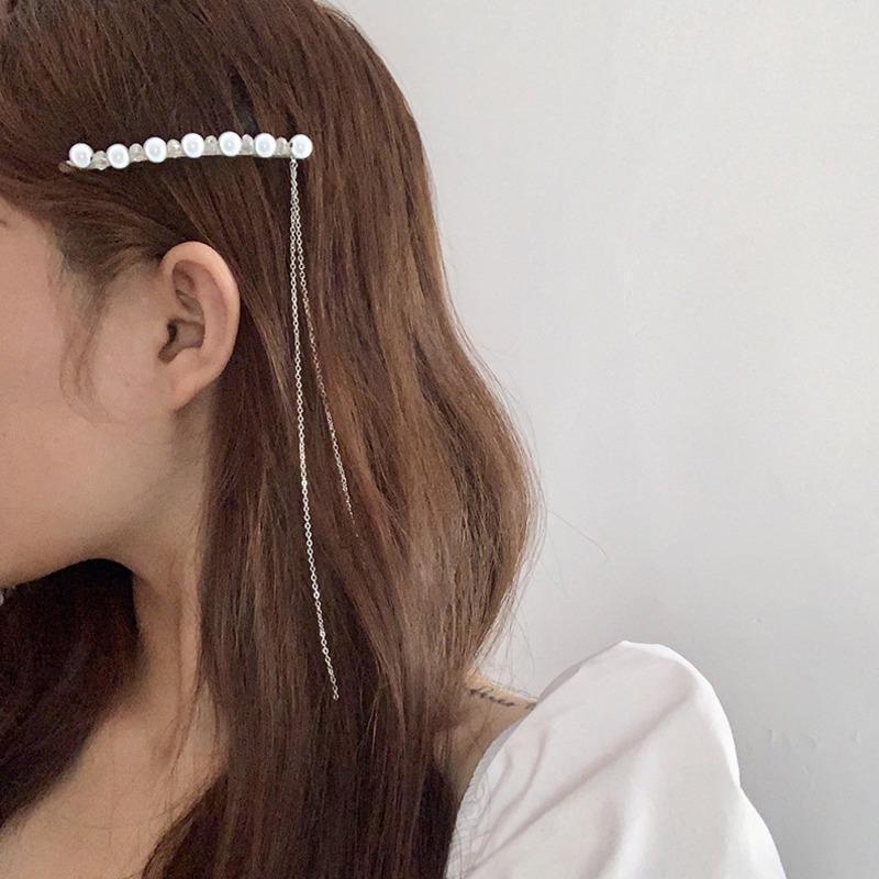 Korean Long Chain Tassel Pearl Hair Clips For Women 2021 Fashion Crystal Barrettes Female Accessories