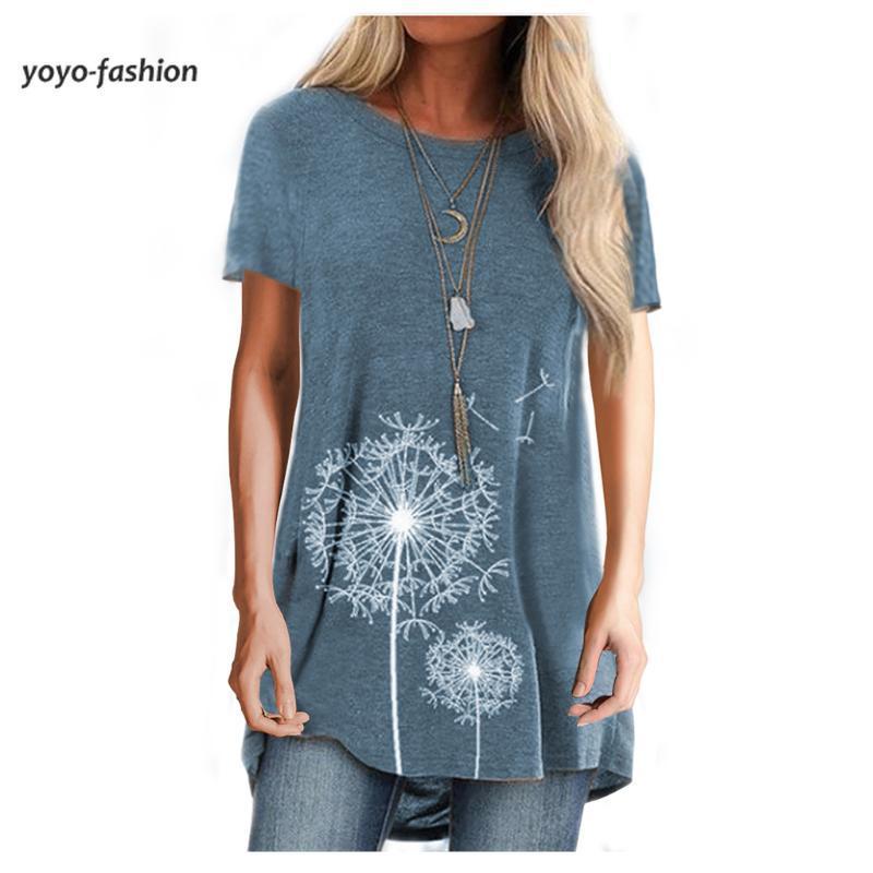 Cuello redondo de cuello redondo de manga corta de manga corta media Tshirt mujeres casual diente de león impresión cómoda camiseta 2021 verano camiseta de las mujeres
