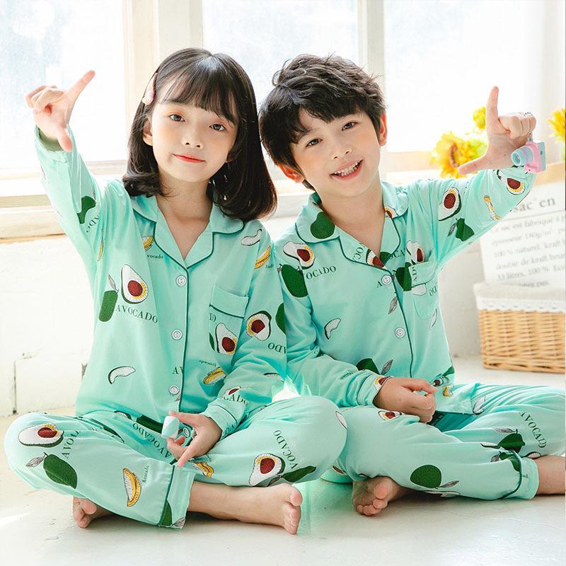Çocuklar Pijama 2020 Sonbahar Kış Kız Erkek Pijama Gecelikler Bebek Giysileri Hayvan Karikatür Pijama Setleri Pamuk Çocuk Pijama 2471 Q2