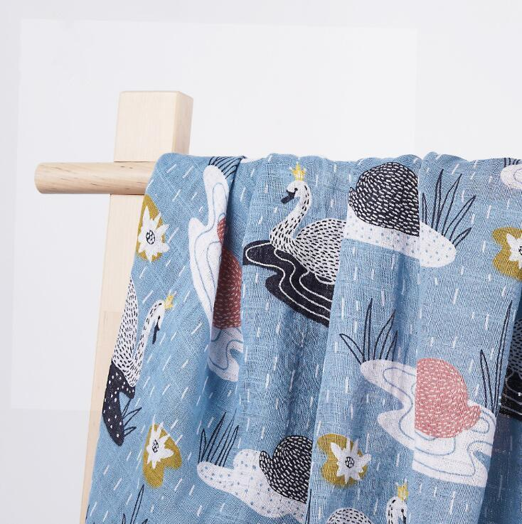 Baby Swaddling Infant Wrap Cloth Blanket Printed Bath Towel Cartoon animal pattern blankets spring and summer muslin Newborn SEA BWC7391