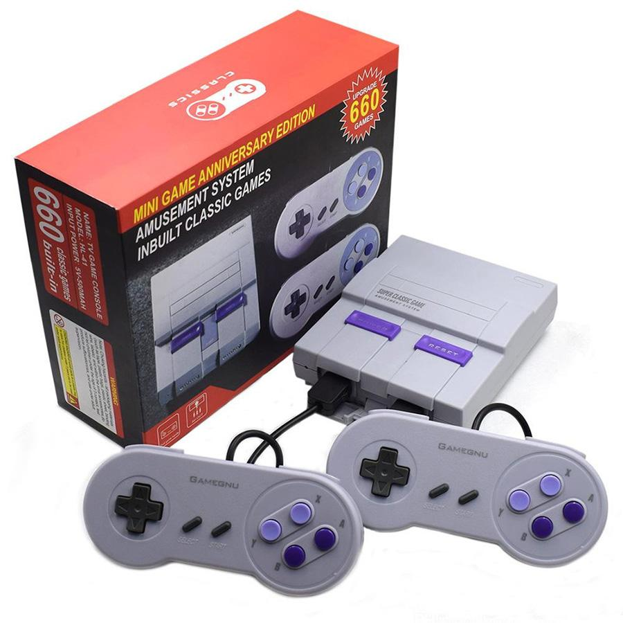 Super Classic Host Mini-Spiel Jubiläumsausgabe TV-Handheld-Videospiele Console Controller neuester Unterhaltungssystem für SFC 660 NES SNES AV-Konsolen MQ