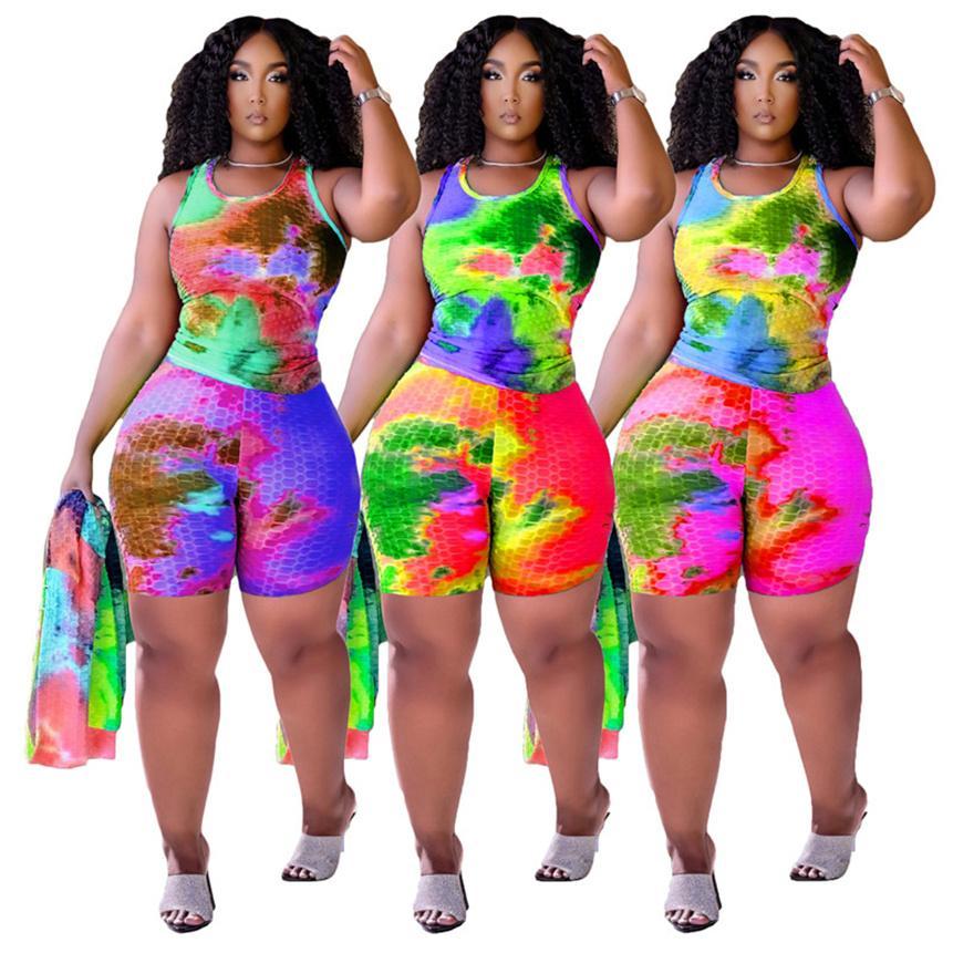 Frauen Krawatte Farbstoff Trainingsanzüge Sexy Zwei Stück Hosen Sommer Kleidung Plus Größe Outfits Sleeveless T-Shirt + Mini Shorts Bodycon Running Anzug 4810