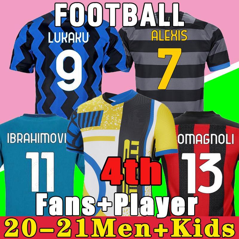 Inter Soccer Jersey 2021 2022 الرابع الرابع Lukaku Lautaro Eriksen Barella 20 21 22 AC Ibrahimovic Theo Mandzukic Football قميص أطفال مجموعة Tonali Brahim
