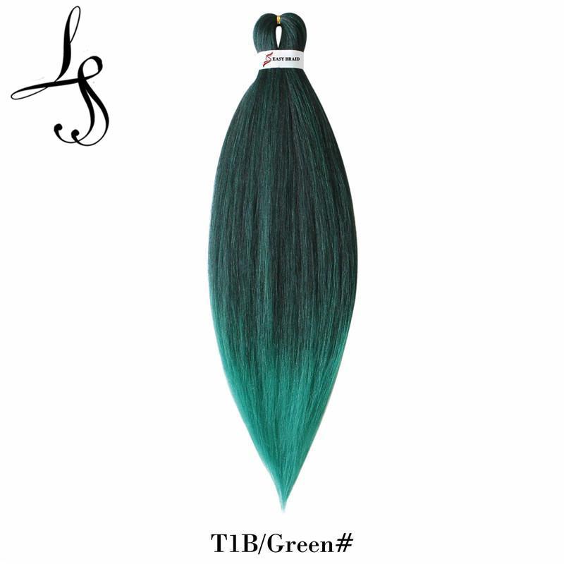 """Shanghair Pre Stretched EZ Braiding Hair Extensions 90g / PCS Ombre Easy Jumbo Braids 26 """"합성 크로 셰 뜨개질 머리 블랙 브라운 핑크"""