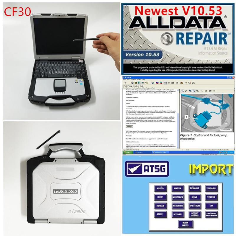 2020 hot CF30 diagnostic laptop with newest Alldata v10.53 M...ll 2015 and ATSG 2017 3 in 1 TB hdd full set on cf30 4GB laptop