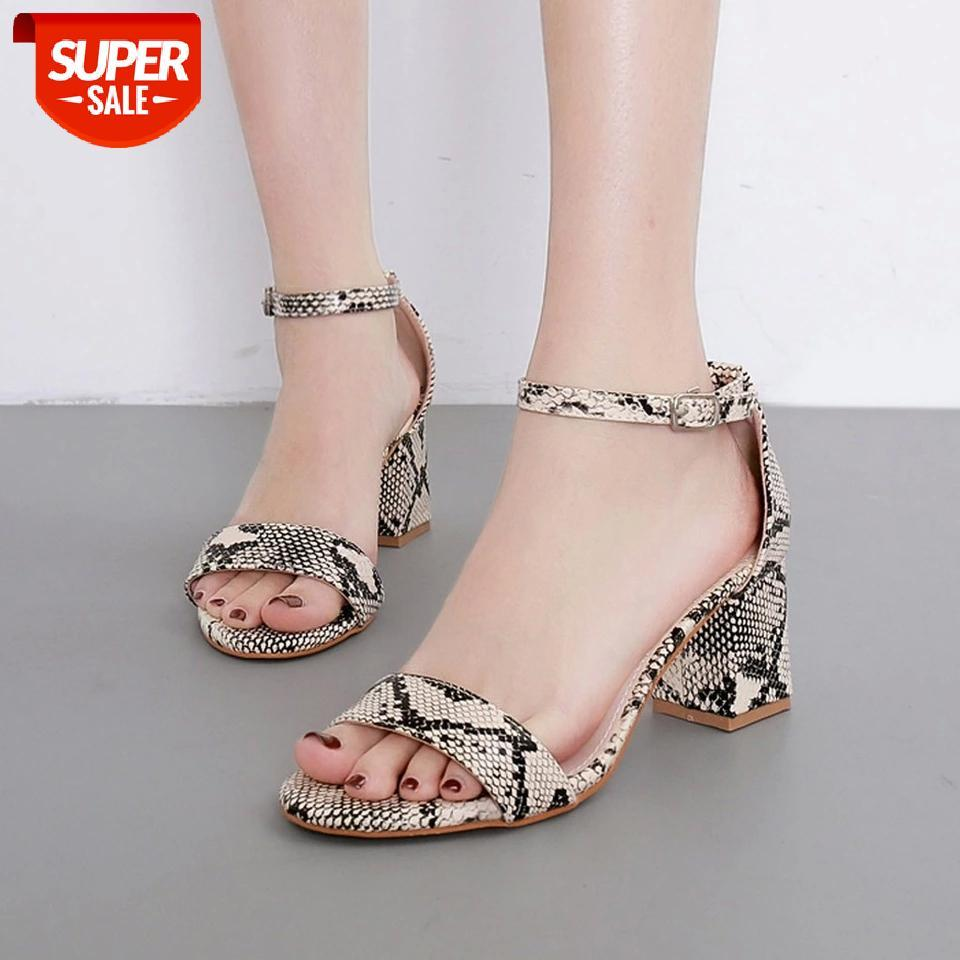 Ladies Sexy Elegant Square Heels Sandals Women Summer Snake Print Ankle One Word Buckle Shoes Sandalias Mujer 2020 NEW #2O0Z
