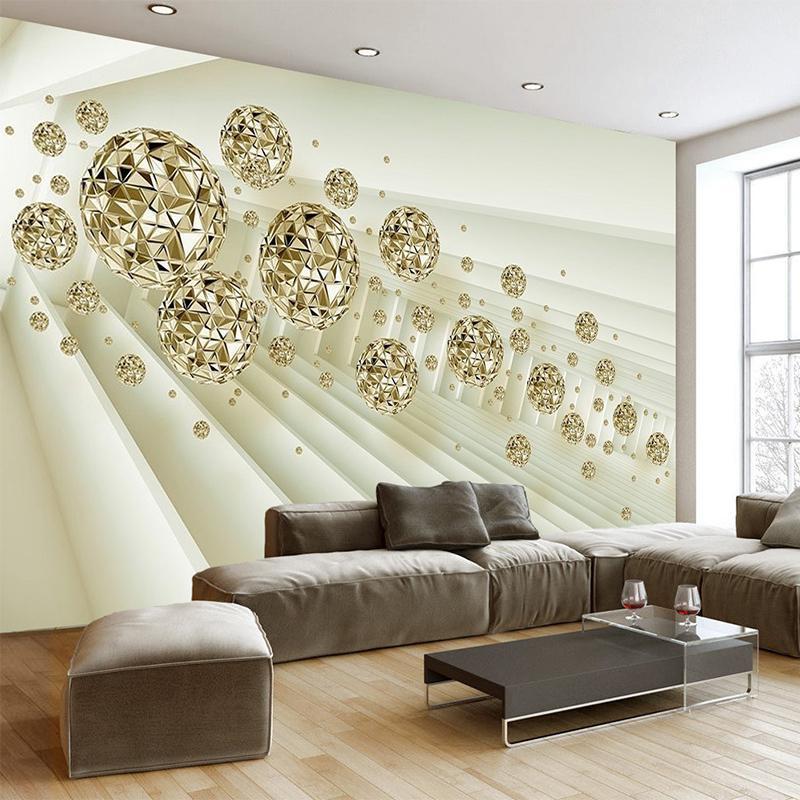Wallpapers Modern Creative Space Metal Bola 3D Murais Murais Papel de Parede Sala de Visitas Quarto Televisor Papel para Decoração de Pano