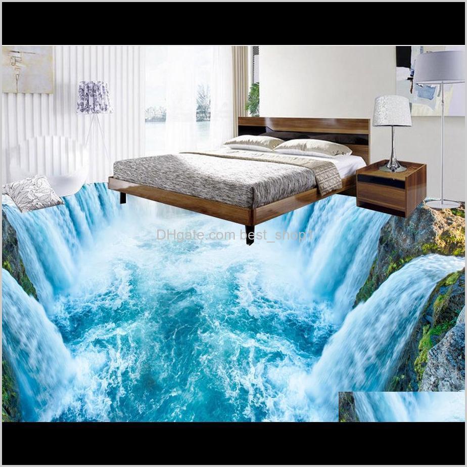 Wallpapers Home Decoration Waterfall Living Room Waterproof Floor Mural Painting Selfadhesive 3D Tu71W Fupnr