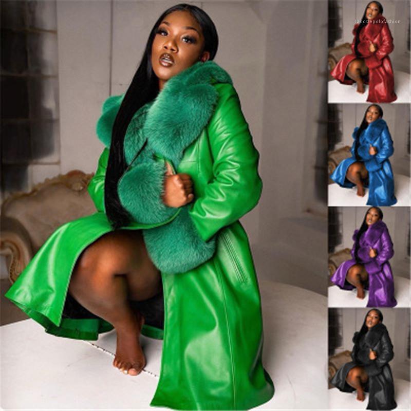 Frauen Frauen Wollmischungen Mantel Mode Trend Spleißen PU Leder Langarm Mittellange Oberbekleidung Weibliche Winter Feste Farbe Revers Lose ca