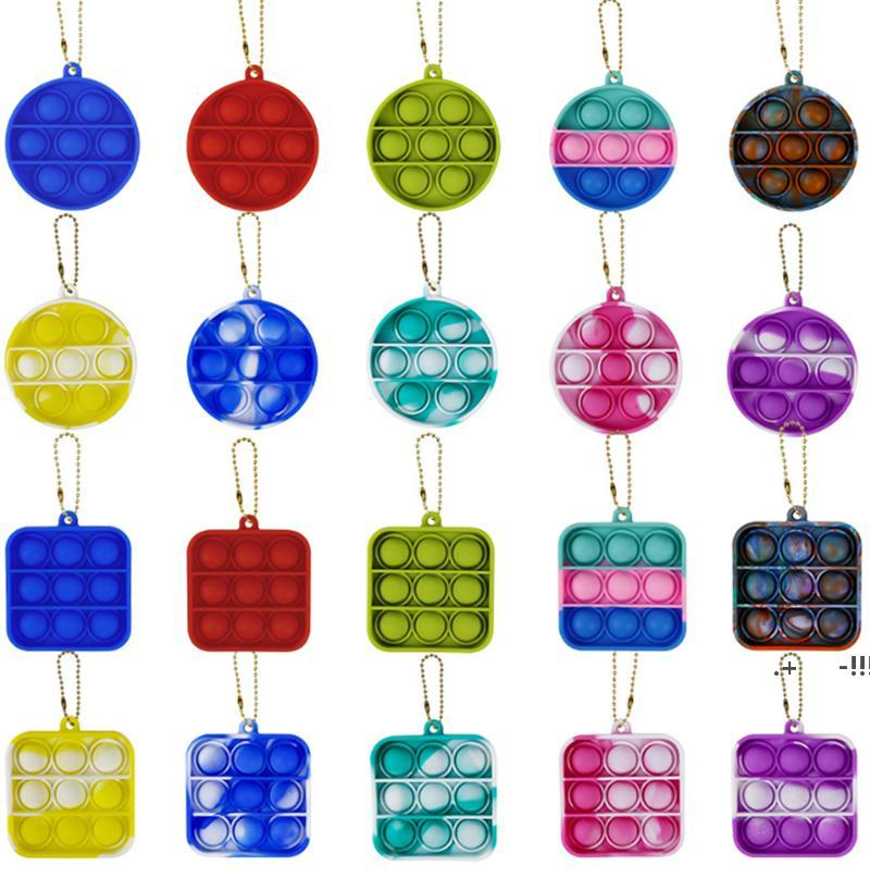 Simple Dimple Push Pop It Keychain Party Favor Sensory Kid Fidget Toy Stress Bubble Key Ring Board Finger Pendant FWB6367