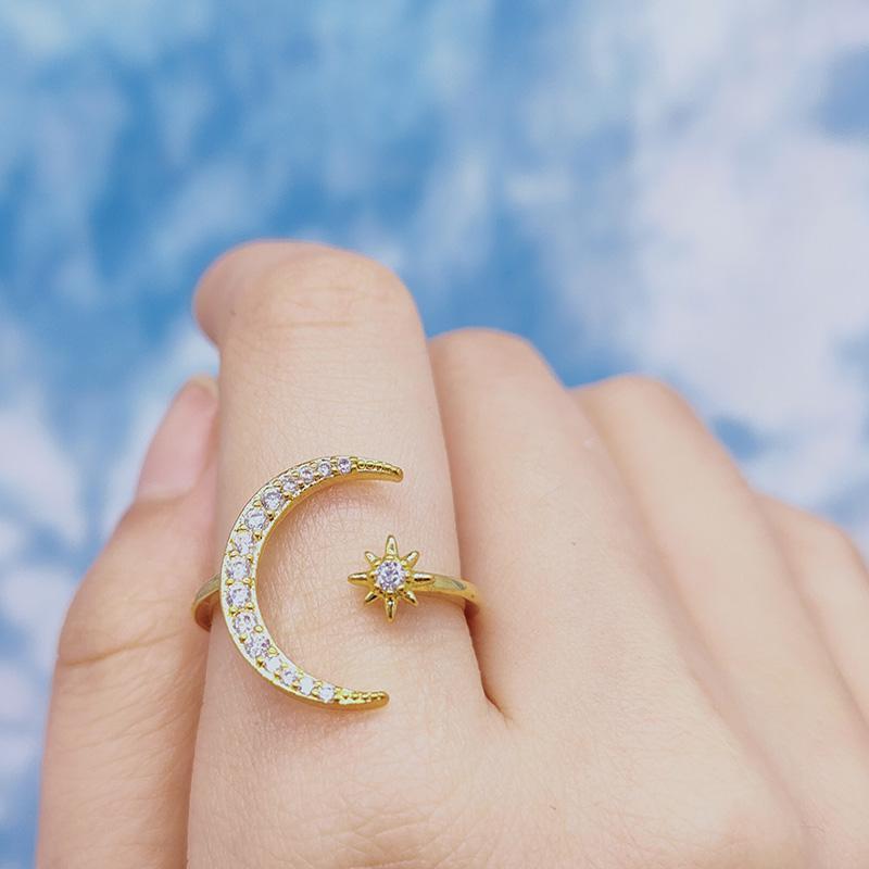 6 stücke mix mode vintage minimalist mond sternöffnung ring für frauen gold silber farbe hochzeit böhmischen schmuck nettes geschenk