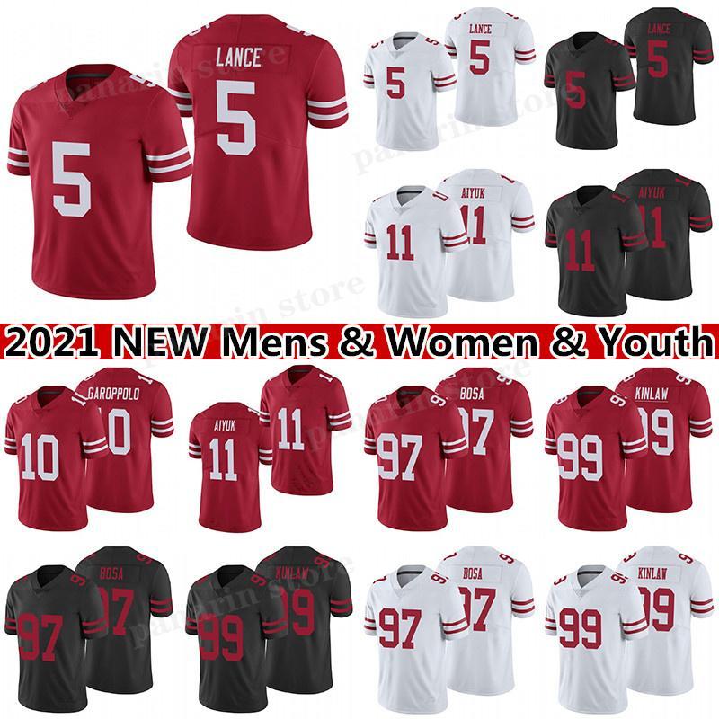5 Trey Lance 11 Brandon Aiyuk 97 Nick Bosa Football Jersey 99 Javon Kinlaw 10 Jimmy Garoppolo 85 George Kittle 16 Joe Montana Mens Mulheres Juventude Jerseys