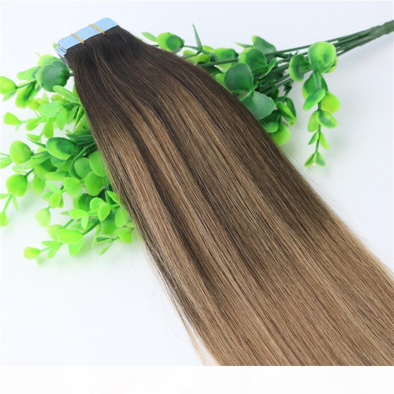 Ombre Saç Uzantıları Tutkalsız 2 # 6 # 6 # 6 # 6 İnsan Saç Uzantıları Bant 40 ADET 10gram Brezilyalı Bakire Saç Balayage Koyu Kahverengi Vurgulamak Cilt Atkı
