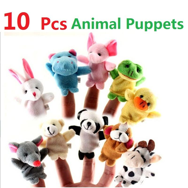 HOT Sales 10pcs Cute Cartoon Dolls Biological Animal Finger Puppet Plush Toys Child Baby Favor Gift toy Gato Kids Soft Girl Year Party