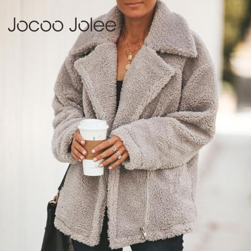Jocoo Jolee Causal Inghilterra Style Style OverCeats Donne Inverno Elegante Elegante Furma Giacche di pelliccia TRAMMA Cerniera calda Up Teddy Plus Size Outwear