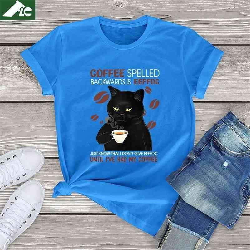 100% algodão camiseta mulheres gato preto café soletrado para trás é engraçado gato café tops unisex t camisa de casa de casa camiseta 210330