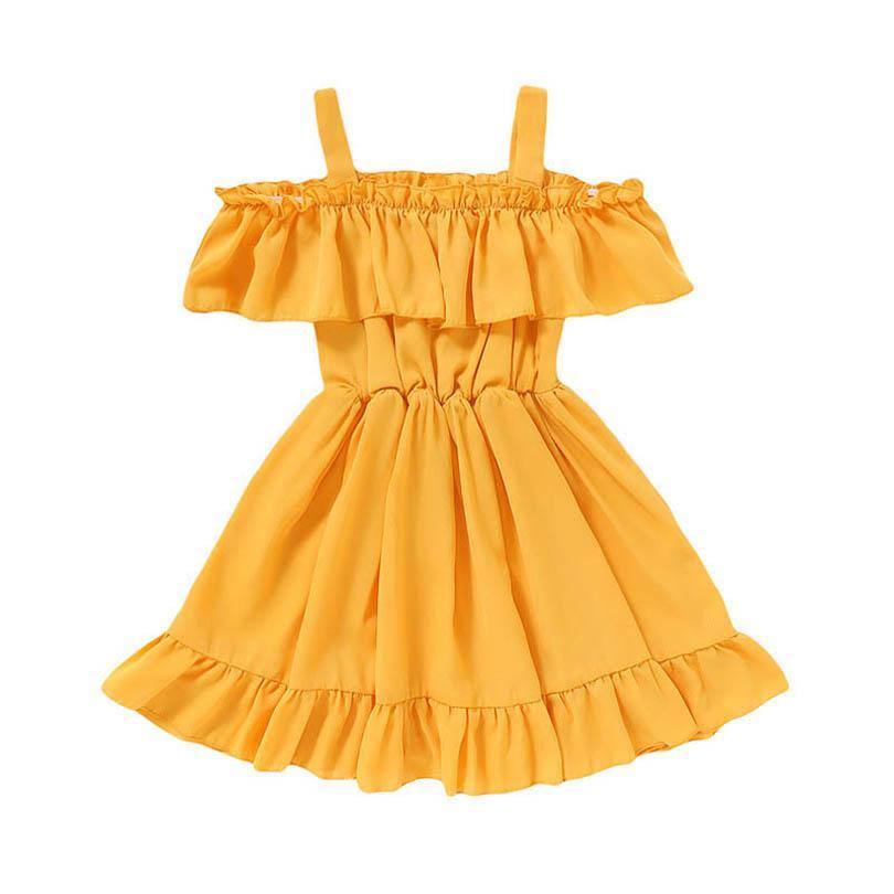 الفتاة فساتين طفل الفتيات عارضة ملابس الاطفال ملابس الصيف الشيفون الأميرة ارتداء 1-5 طن B4838
