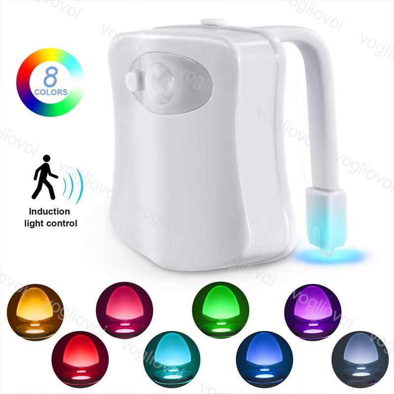 화장실 야간 조명 LED 램프 스마트 욕실 인간의 모션 활성 PIR 8 / 16 색상 화장실 그릇에 대 한 자동 RGB 백라이트 EUB