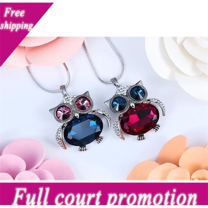 Coruano jóias coruja de cristal camisola longa mulheres outono e inverno novo moda versátil acessórios pingente