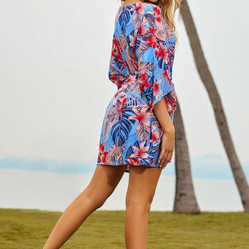 Mujeres cortos Bikini Bikini Cover Up Tropical Floral PRINT CINTADO KIMONO CARDIGAN 54DE Trajes de una pieza