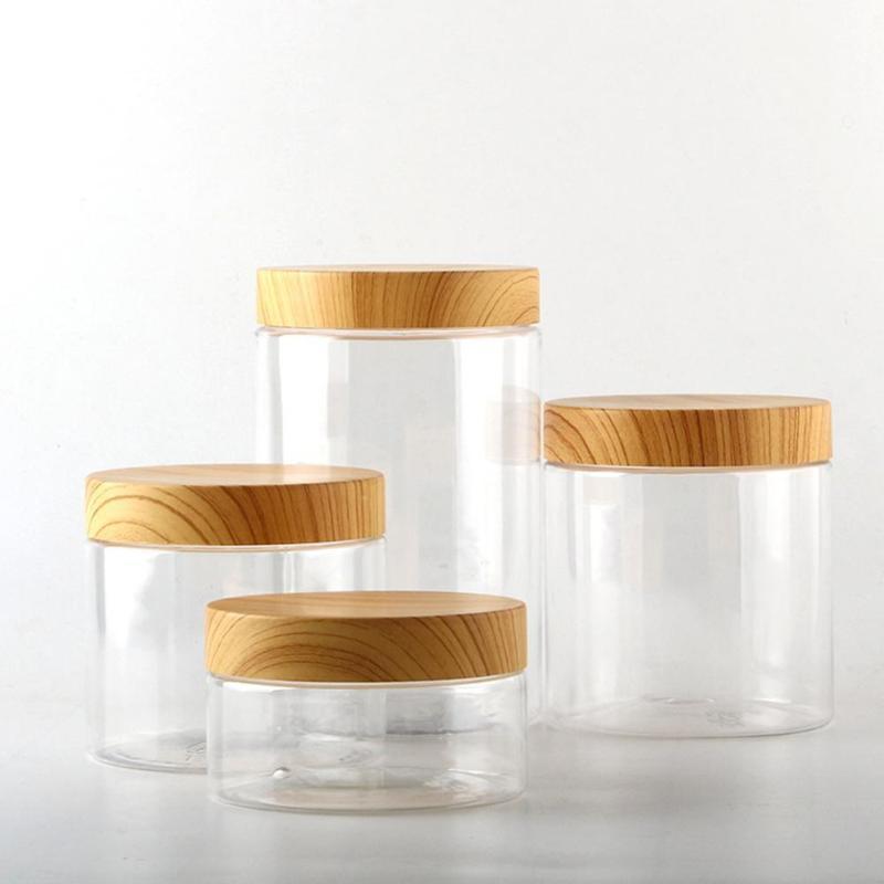 Пустой пластиковый корпус бутылки 200мл / 300 мл 400 мл 500 мл с контейнерными чайными бутылками крышкой кухня для хранения кофе деревянный O4G9