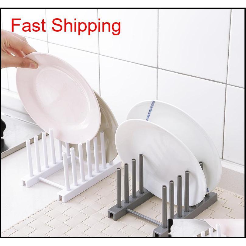 Suministros de alta calidad Rack Drenaje Bastidores de cocina de plástico blanco Plato Tapa de tapa de plato Organizadores EQXBS 5TBXY