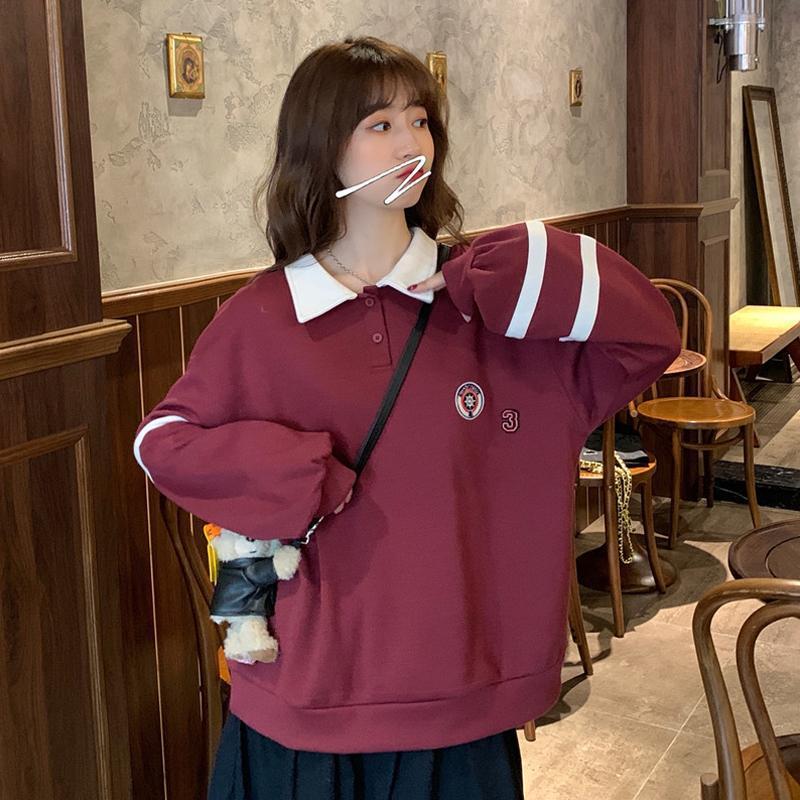 Hoodies das mulheres moletons moda japonesa estilo preppy outono outono inverno roupas mulheres casuais solta manga longa colarinho-down colarinho