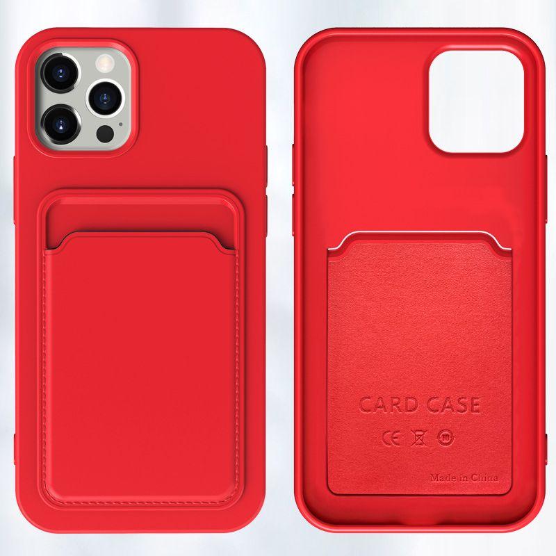 패션 2 in 1 액체 실리콘 고무 소프트 TPU Shockproof Anti-Shock 커버 파우치 카드 홀더 케이스 아이폰 13 Pro Max 12 Mini 11 XS XR X 8 7 Plus Se