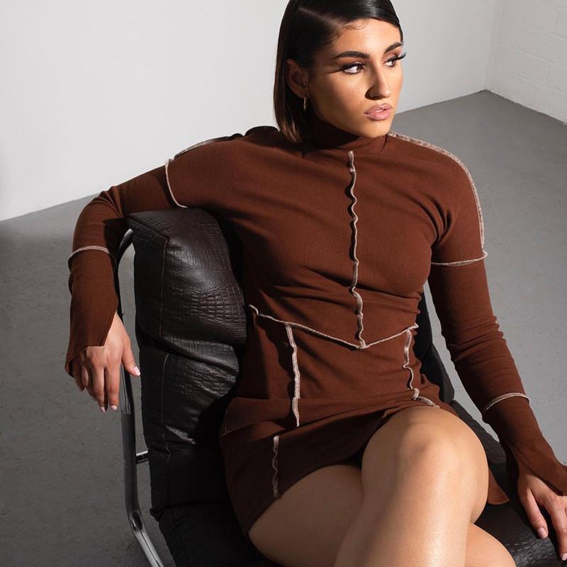 Kleider 2021 Neues Kleid Frauen Rollkragen Langarm Kleidung Mode Straße Dame Bodycon Mini Frühling Sexy Slim