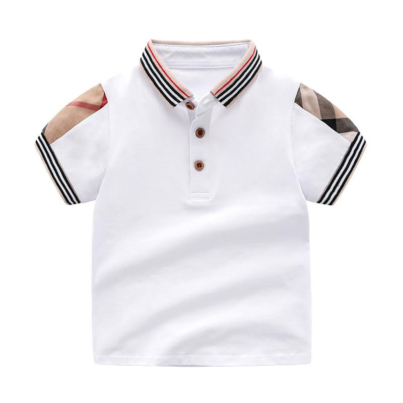Retail Summer Baby Boys Girls T-shirts Cotton Kids Clothing Short Sleeve T Shirt High Quality Children Turn-down Collar Plaid T-shirt