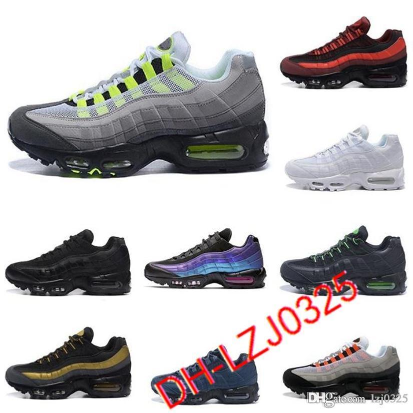 2021 95S Zapatos Triple Negro Blanco Láser de Neón Fucsia Orbita Roja Criada Aqua Cojín Air 90 Formas para hombre Deportes Zapatillas deportivas Chaussures DHX-H27