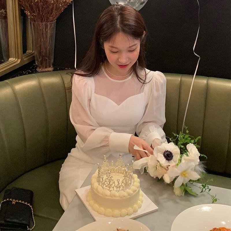 Doce malha retalhos maxi vestido manga longa o pescoço sólido bodycon senhoras primavera vestidos coreanos vestidos 210426