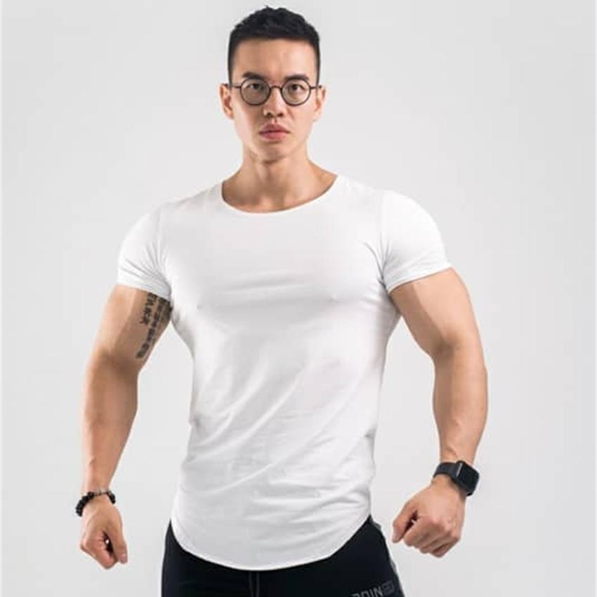 Factory8B5Cafitness Ocio de ocio Verano Hombres Musculosos Hermanos Correr Deportes Top transpirable Camiseta de manga corta Placa lisa