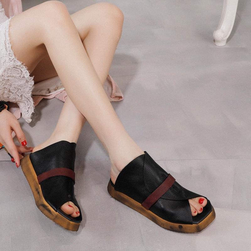 ArtDiya Slippers Original para mujer 2020 Verano Nuevo Plataforma Zapatos Cuero genuino Personalidad retro Peep Toe Sandalias y zapatillas S113 #