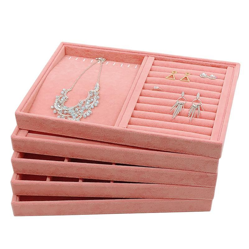 الأزياء المحمولة المخملية المجوهرات حلقة عرض المنظم مربع صينية حامل القرط تخزين حالة عرض الحقائب، أكياس