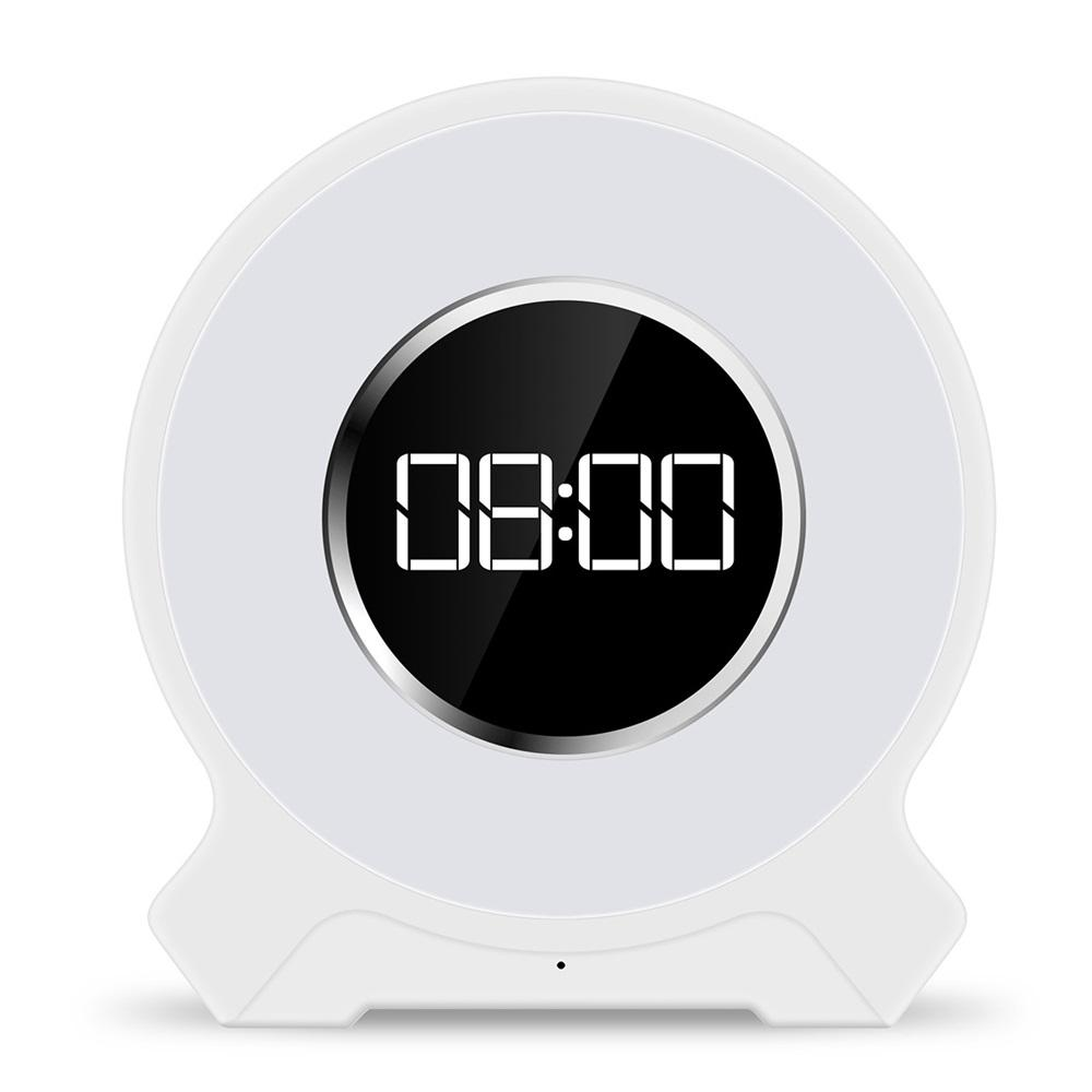 Wake UP Alarm Clock FM Radio LED Digital Wireless Bluetooth Speaker Night Light Electronic Desk Lamp Decor