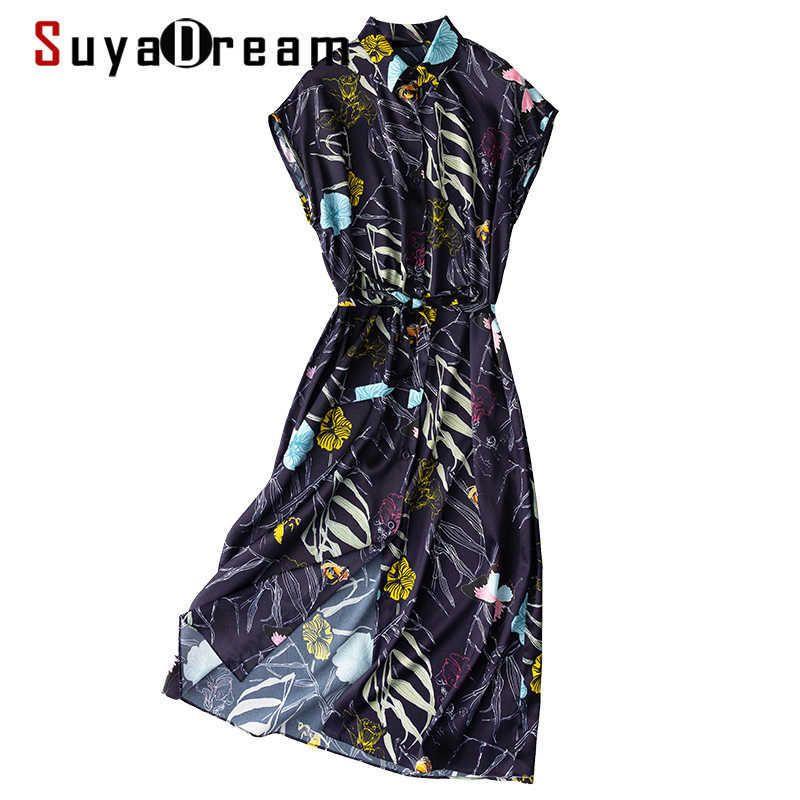 Suyadream frau floral kleid seide satin flederlinge navy shirt kleider frühling sommer druck schärpen kleider 210603
